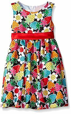 NWT Girl 2T 3T 5 AMERICAN PRINCESS Strawberry Print Empire Shantung Formal Dress