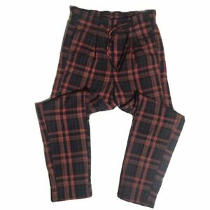 Free People Red Plaid Lax Wide Leg Pants Euc Size 6 Ebay