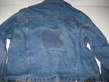 VINTAGE '80s Apple Computer Employee Denim Jacket With Logo XL