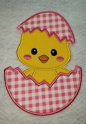 FREE SHIPPING 2-Pack Pink Happy Easter Egg Embroidered Iron On Patch
