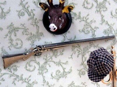 Toy Antique Double Shotgun, Dolls House Miniature Gun Ornamental 1.12th Scale