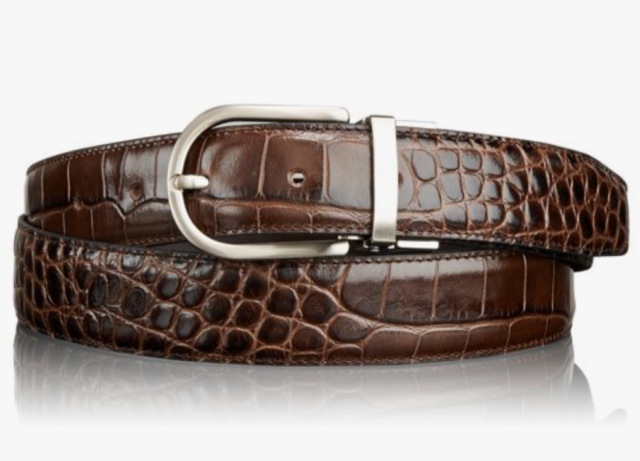 New Men's Genuine Leather Embossed Crocodile Textured Belts S-XXXL