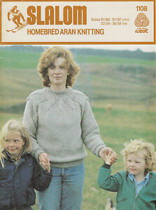 SLALOM-HOMEBRED-ARAN-LADIES-COUNTRY-SWEATER-KNITTING-PATTERN-32-34-36-38