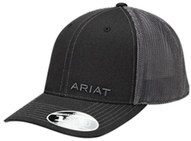 Ariat Western Mens Hat Baseball Cap Mesh Back Flex Fit Black Logo 1597501 cb006a41c7f8