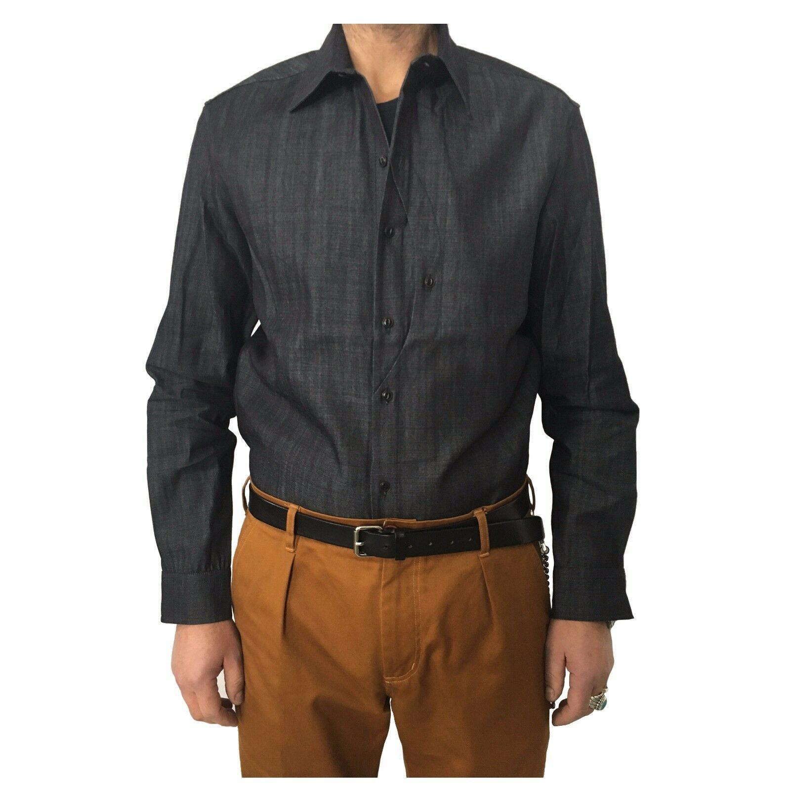 INDIGO AND GOODS men's shirts denim bluee mod GULLIVER SHIRT 100% cotton