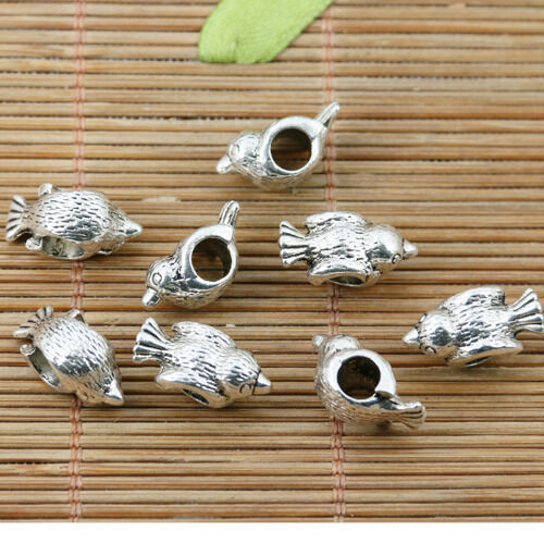 11pcs tibetan silver tone little bird design loose bead EF2217