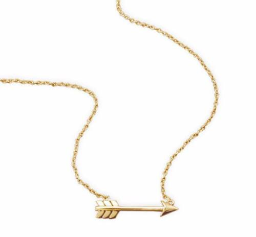 "14k Yellow Gold Sideways Arrow 925 Sterling Silver Fashion Pendant Necklace 18/"""