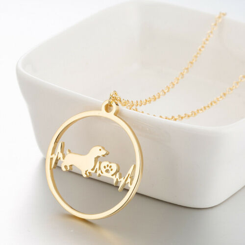Creative Cartoon Dog Pendant Jewelry Heartbeat Necklace Silver Golden Chain Gift