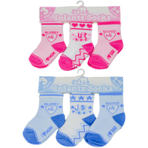 3 Pairs Baby Socks  ~Just Perfect /& Mummy//Daddy Loves Me ~ 0-12Mths Soft Touch