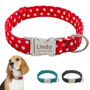 Personalized-Dog-Collar-Dotted-Nylon-Pet-Collars-Free-Engrave-ID