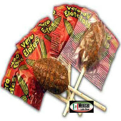 Vero Elote 15-pcs  Chili Covered Straberry Flavored Lollipops Mexican Candy 9-oz