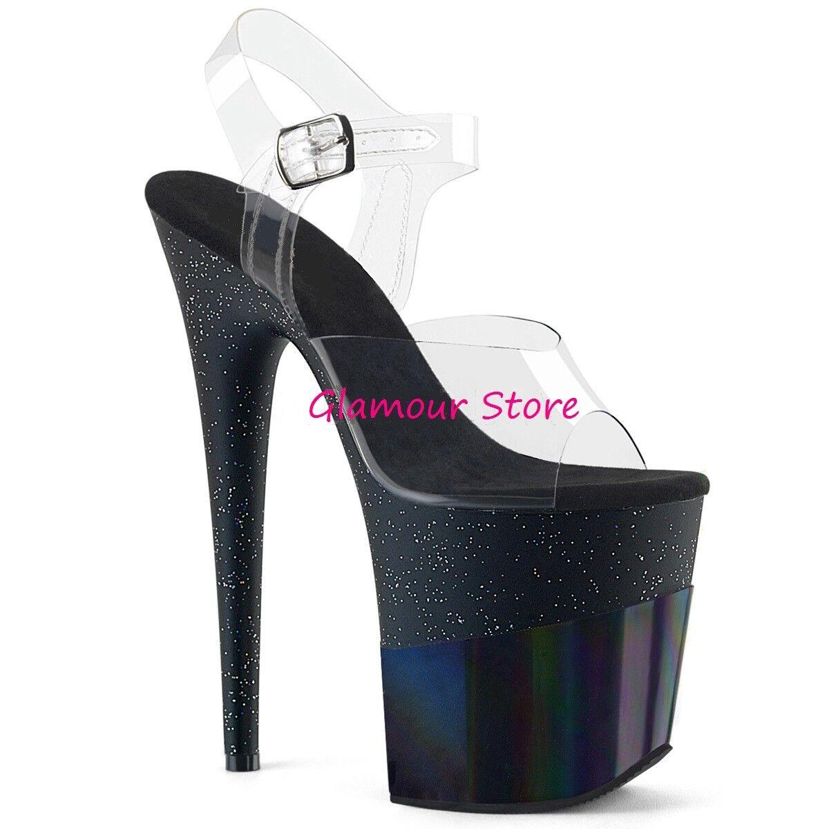 Sexy SANDALI GLITTER tacco 20 negro TRASPARENTE dal 35 al 40 plateau zapatos club