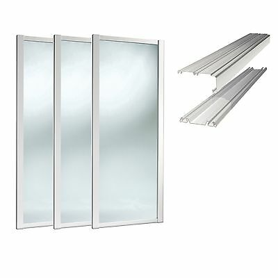 SpacePro Sliding Wardrobe Doors Kit. White Frame with mirror & tracking Included