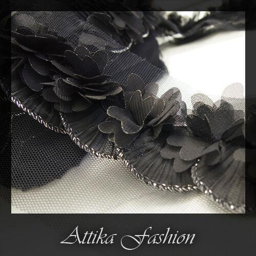 - Organza Ruffled Designer Trim *per yard* Black Butterfly
