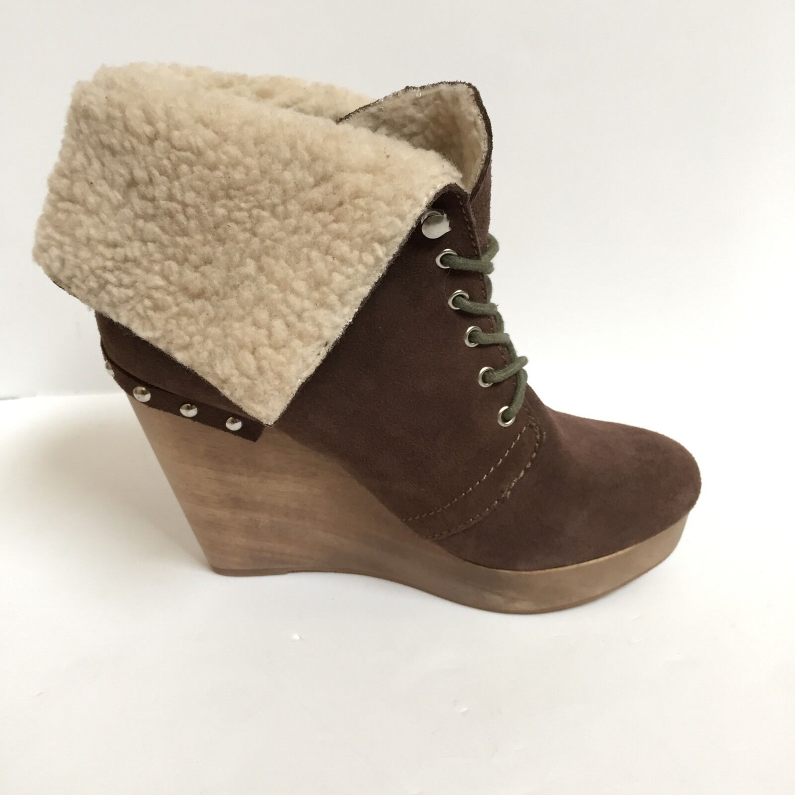 Naughty Monkey Short & Sweet suede wedge booties boots Brown/Taupe, NEW Orig9