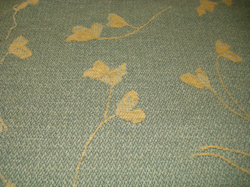 5 meters of High quality green with gold floral  Upholstery Fabric.