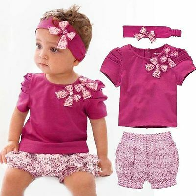3Pcs/Set Baby Clothes Cute Girls Headband + Tops + Bloomers Floral Pants Outfits