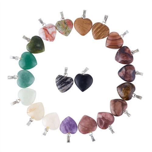 20pcs//Box Mixed Stone Natural Gemstone Heart Pendants Brass Bails Charms 23mm