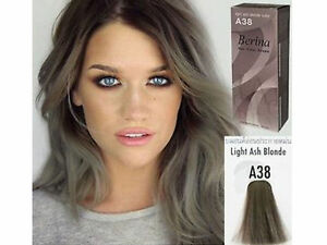 NEW BERINA PERMANENT A38 COLOR HAIR DYE CREAM LIGHT GREY SILVER FREE ...