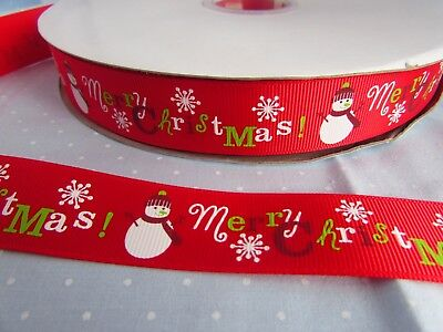 5m 10m and 25m 25mm Red Grosgrain Ribbon with Repeat Snowman Print in 1m