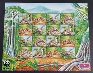 1995-Malaysia-WWF-Animals-Clouded-Leopard-16v-Stamps-Sheetlet-Mint-NH