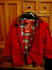Classic Marlboro Red Barn Jacket Sz S Red Canvas, Leather Collar NWT,Vintage 90s