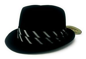 """Scala """"CLYDE"""" Black Wool Felt Crushable Water Repellant Fedora Black/Silver Band"""