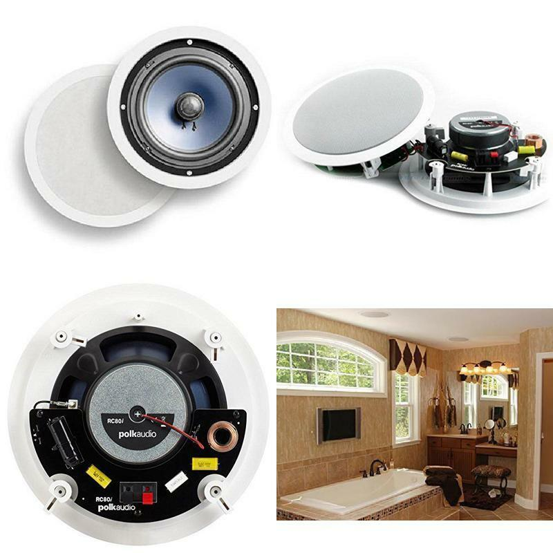 Polk Audio RC80I 2-Way In-Ceiling   In-Wall Speakers 8  Loud Speaker Pair White