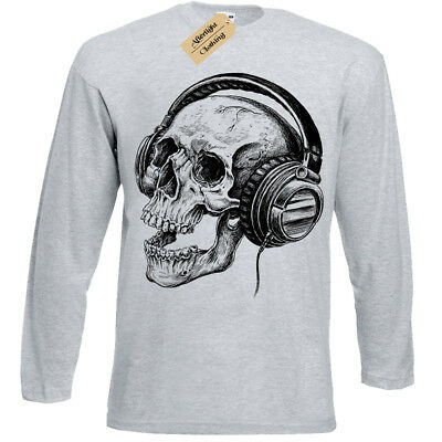 Musica Manica Shirt Lunga T Scheletro Cuffie da Band Teschio Retrò Uomo pwnCxU1zZq