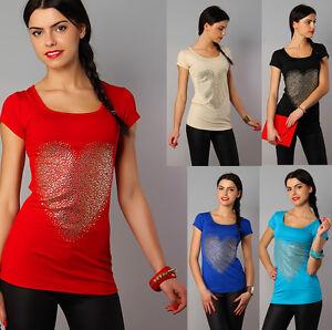 "Womens Stretchy Summer T-Shirt ""Heart"" Blouse Shiny Studs Tunic Size 8-12 8510"