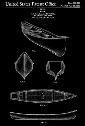 Erickson 1971 D Canoe Patent Art Poster K