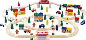 Train en bois Grand train Set train en bois pour enfants Nouveau