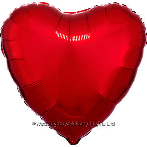 50  Red Heart VALENTINES DAY Helium Foil Balloons Wholesale Job Lot clearance