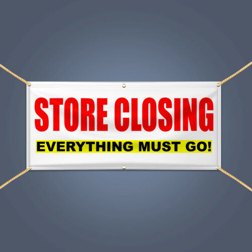 5' X 3' STORE CLOSING EVERYTHING MUST GO Heavy Duty Vinyl Banner Business Sign
