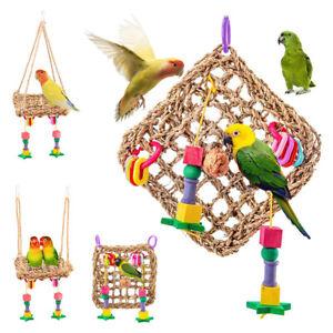 LD-BIRD-PARROT-STRAW-HANGING-HAMMOCK-SWING-CAGE-MESH-MAT-PET-FORAGING-CHEWING