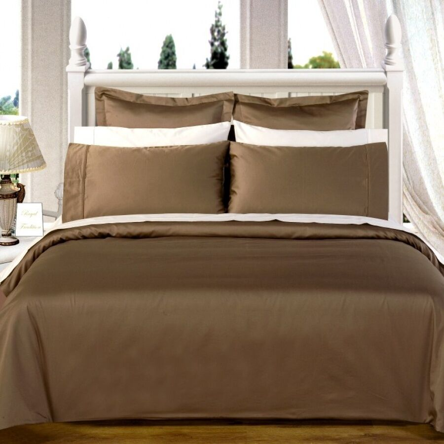 1000 Thread Count Egyptian Cotton 1000 TC Bed Sheet Set SPLIT KING Taupe Solid