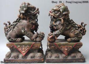 PAIR China Guardian Lions Feng Shui Fu Dog Beast Wucai Porcelain Pottery Statue