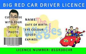 The Wiggles Gran Rojo Coche Conductor licencia Personalizada. envío Gratis + Capa holográfica