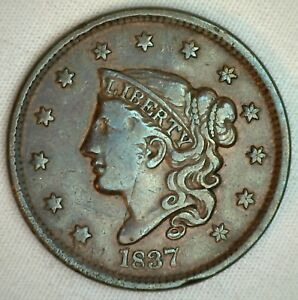 1837-Coronet-Large-Cent-US-Copper-Type-Coin-Very-Fine-VF-Variety-R4