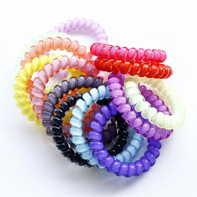 5 Durable Elastic Hair Ties Colorful Extendable Coiled Telephone Wire Rings 27e4956f471