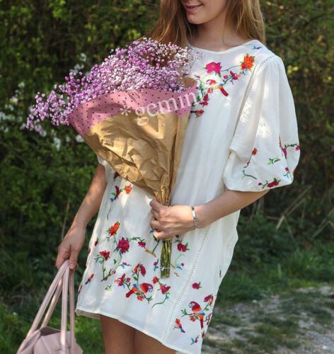 Dames: kleding ZARA SEIDE MINI KLEID BLUMEN STICKEREI ...