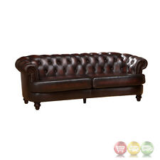 Mario Burgundy Top Grain Leather Sofa With Antique Finish