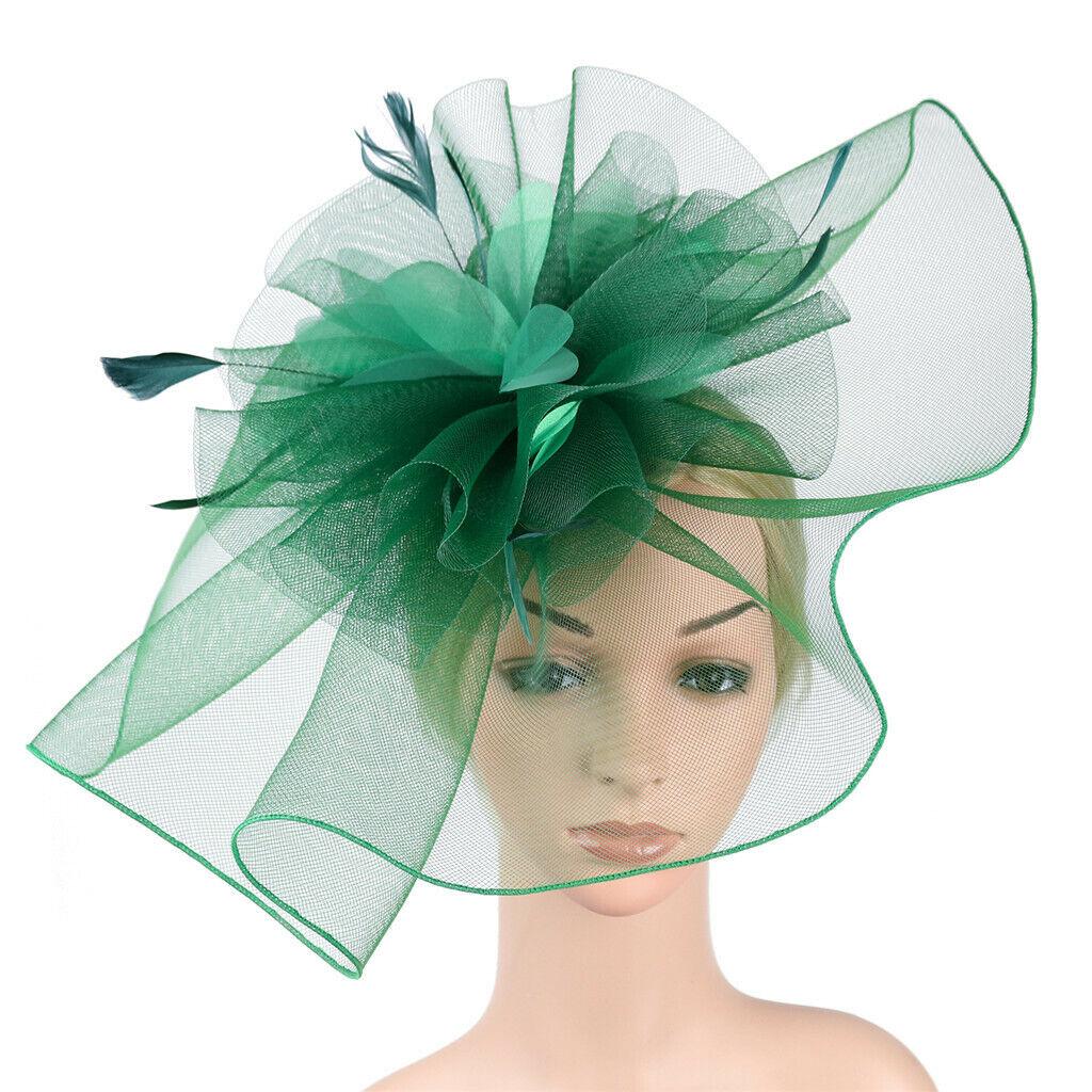 Womens Big Flower Kentucky Derby Hats,BOLUBILUY Fascinator Feather Mesh Net Tea Party Headwear Headpiece