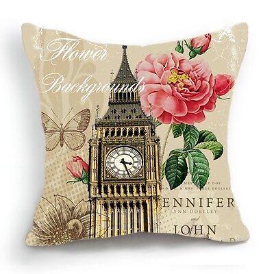 Retro Design 18'' Cushion Cover Pillow Case London Big Ben Clock Rose Flower