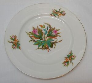 Plate-Pink-Flowers-Ferns-Turquoise-and-Green-Leaves-Vintage