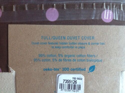 NWT Pottery Barn PB teen Tonal Dottie Duvet//Cases Full//Queen Coffee//Light Mauve
