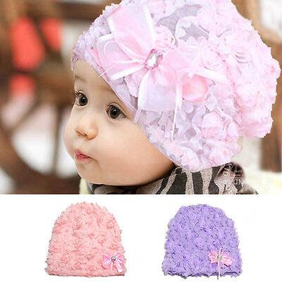 Girls Baby Toddler Kids Flower Rose Bonnet Hat Cap Beanie Hair Accessories