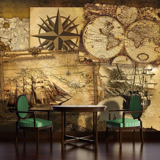 Tapete Fototapete Foto Tapeten Vintage Schiff Landkarte Bussole