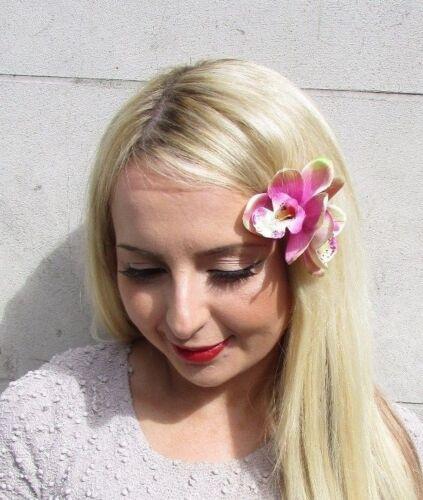Double Light Pink Orchid Flower Hair Clip Rockabilly 1950s Fascinator Vtg 3226