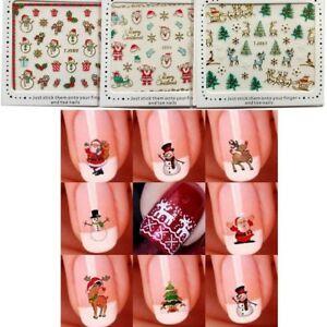 5 Sheets Nail Art 3d Sticker Glitter Christmas Nails Decal Santa